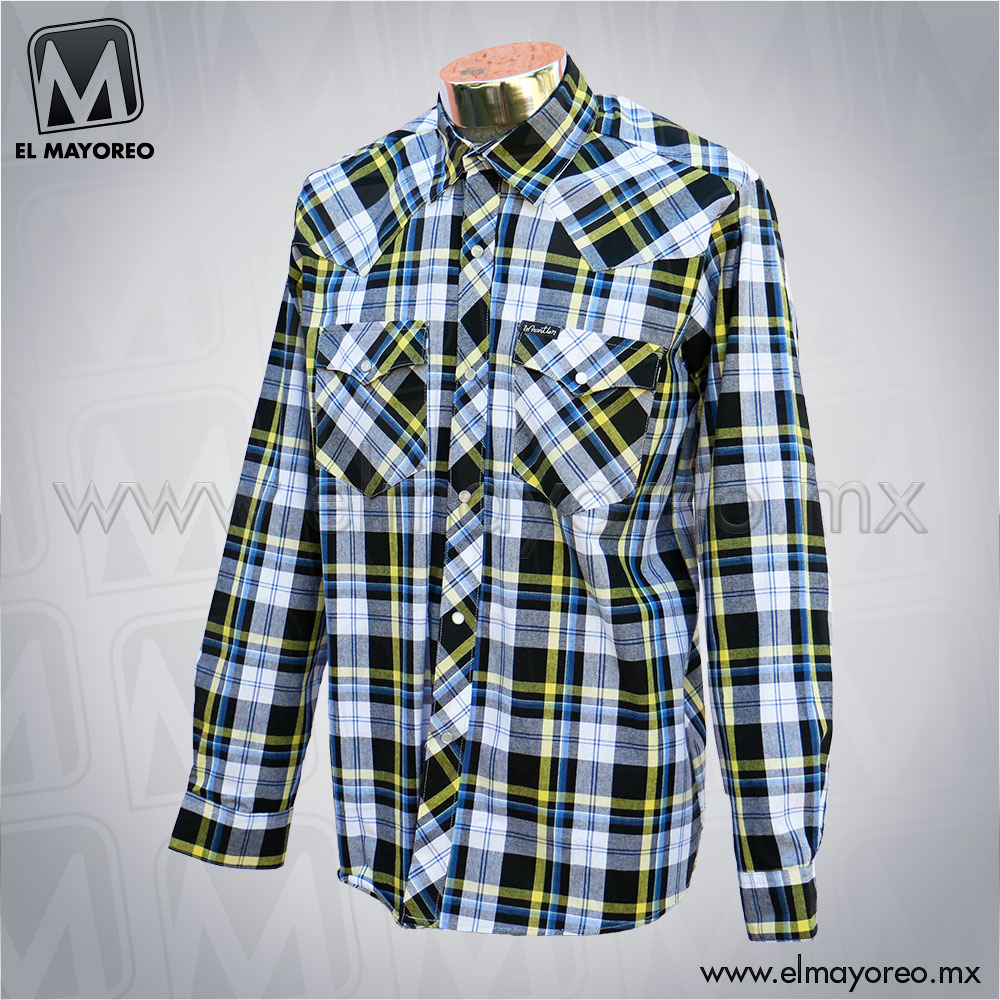 Camisa-Lenador-Cuadros-Azul-Marino-Linea-Amarilla-B