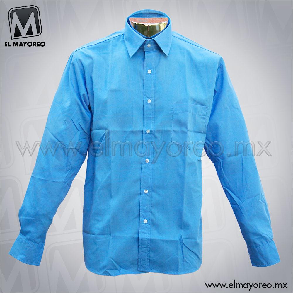 Camisa Verstir Lisa Azul Turquesa El Mayoreo