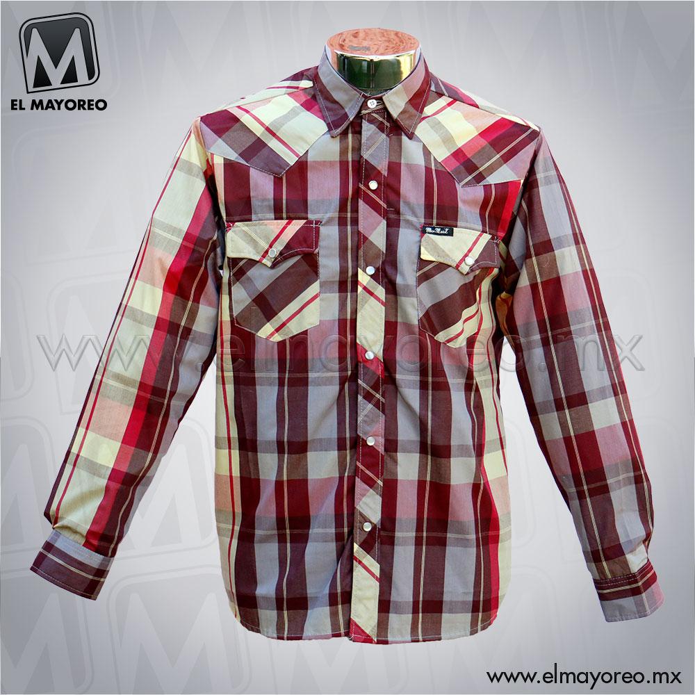 486e962920083 Camisa Vaquera Cuadros Tintos con Beige – El Mayoreo