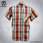 Camisa-Vestir-Manga-Corta-Cuadros-Beige-con-Tinto-A