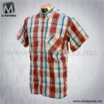 Camisa-Vestir-Manga-Corta-Cuadros-Beige-con-Tinto-B
