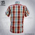 Camisa-Vestir-Manga-Corta-Cuadros-Beige-con-Tinto-C