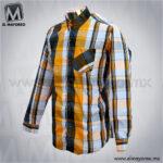 Camisa-Vestir-Manga-Larga-Cuadros-Azul-Marino-con-Amarillo-B
