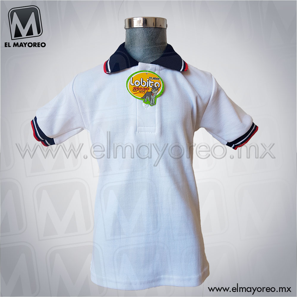 dce9b0079dc9e Playera Lobito Escolar Blanca Cuello Azul Marino Bicolor – El Mayoreo